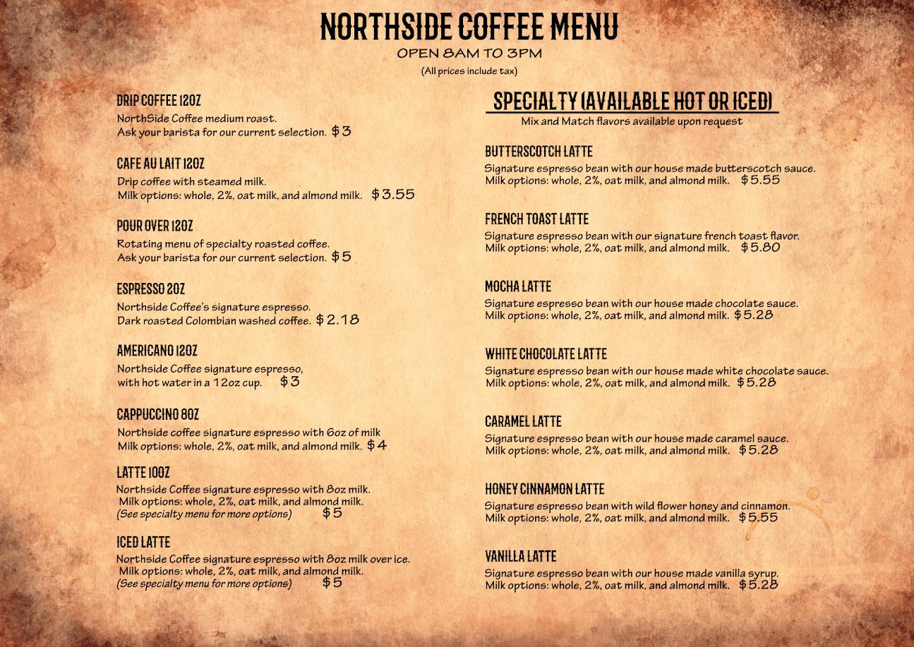 Northside Coffee Menu